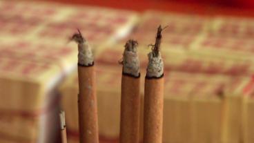 Timelapse Joss Sticks Burning stock footage
