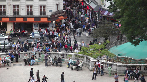 EDITORIAL: Crowd Of People In Paris, La Defence stock footage