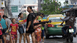 Roadside Water Fight During the Songkran Festival Footage