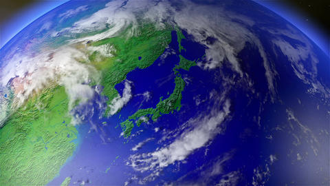 4 K Earth Zoom to Japan 1 Animation