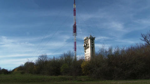 4K Communication Receiver Transmitter Tower Anten stock footage
