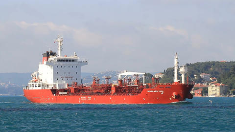 Red tanker ship full of oil. HD, Tracking Video Footage
