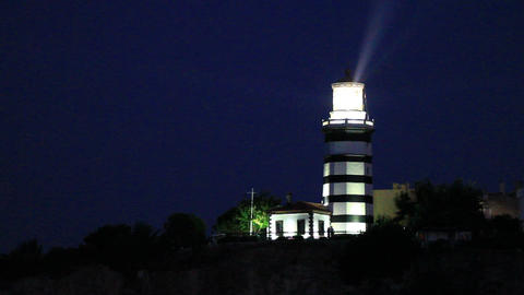 Lighthouse at night Footage