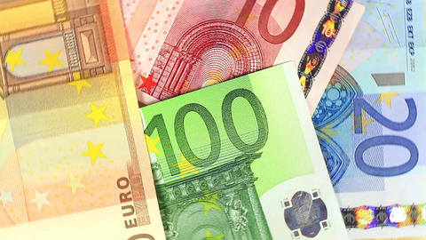 Euro banknotes spinning Close up of the money Footage