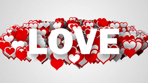 love text on heart shapes loop Animation