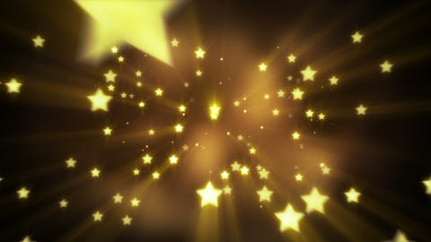 gold star shapes flying loopable background Animation