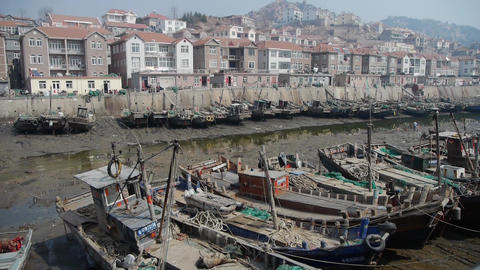 boats in port,worker clean up the estuary mud,China seaside town Animation