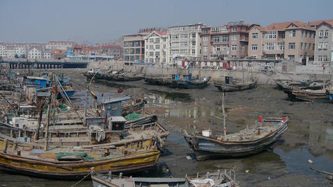 China seaside town,boats in port Animation