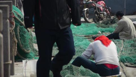 china fishermen repair nets Animation