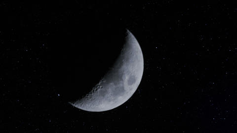 Waxing Moon W Stars Time Lapse 11337 stock footage