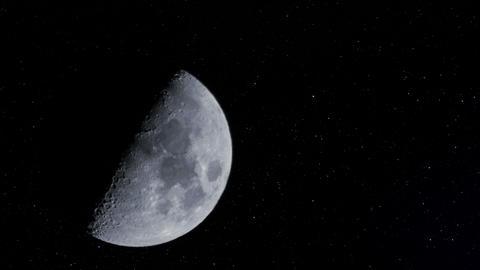 4k UHD half moon w stars time lapse 11341 Footage