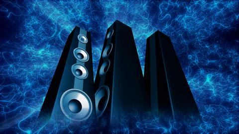 tower speakers 2 Stock Video Footage