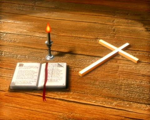 bible and cross Stock Video Footage