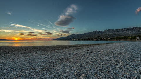 Beach Sunset, Timelapse, Croatia Stock Video Footage