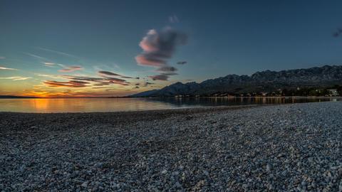Beach Sunset, Timelapse, Croatia Stock Filmmaterial