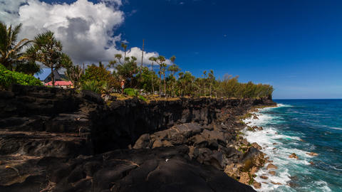 Shoreline with Cliffs Timelapse at La Reunion Footage