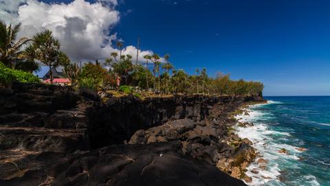 Shoreline with Cliffs Timelapse at La Reunion Footage