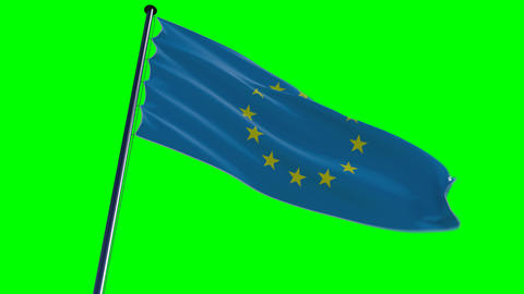 EU Flag, HQ animated on an greenscreen with alpha Animation