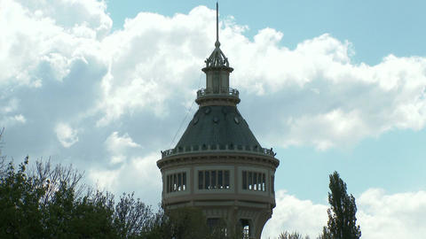 Old Water Tower and Cloudy Sky 2 Footage