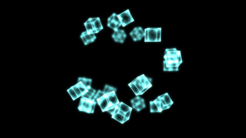 Bright Rotating Cubes - Loop Blue Animation