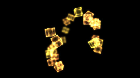 Bright Rotating Cubes - Loop Golden Animation