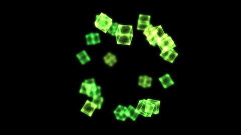 Bright Rotating Cubes - Loop Green Animation