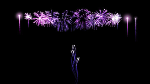 Colorful Purple Fireworks Animation