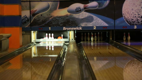 bowling - ball knocks down pins Footage