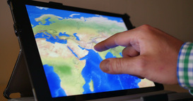 4K Explore A World Map On An IPad stock footage