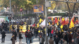 Tear gas and water cannons during demonstration in Stock Video Footage