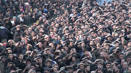 Crowd in Iran during Ashura procession Footage