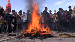 Burning US Flags During Demonstrations In Yazd, Ir stock footage