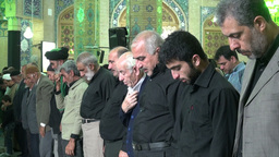 Prayer time in Qom mosque, Iran Footage