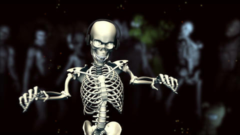 Dancing Skeleton with earphones (background monste Animation