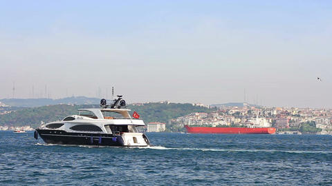 Yacht sails into Bosporus Sea Footage