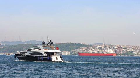 Yacht sails into Bosporus Sea Footage