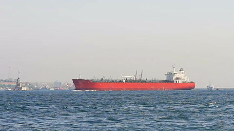 Red tanker ship Footage