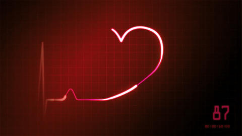 wedding love heart EKG monitor Animation