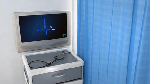 heart EKG monitor blue in screen Animation