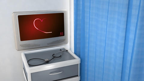 red heart EKG monitor love in screen Stock Video Footage