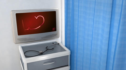 red heart EKG monitor love in screen Animation