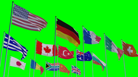 Flags Of Different Nations, HQ Animated stock footage