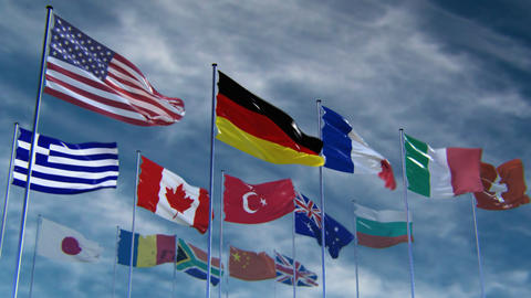 Flags of different nations, HQ animated Stock Video Footage