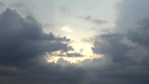 Sun Beneath A Storm Cloud, Aerial, Skyline, Hand H Footage