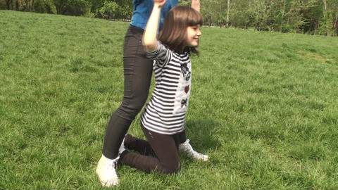 Two Little Girls Playing With They're Bigger Siste Footage
