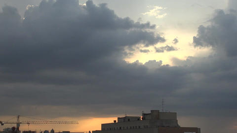 Sun Rays Trough The Clouds, Aerial, Skyline,Down T Footage