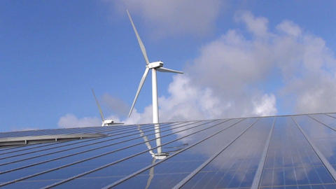 Solar panel array and wind turbines Footage