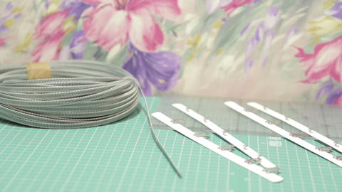 Sewing Items On The Table stock footage