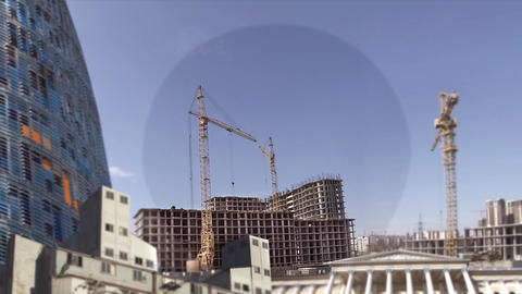 Construction skyscrapers time lapse Footage