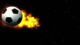 Fiery Soccer Ball on Space Background Animation